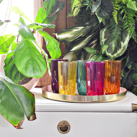 Vintage multi-colored glassware
