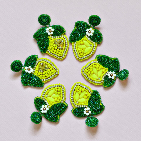 Handmade Beaded Lemon Earrings