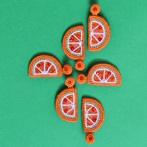 Handmade Beaded Orange Slice Earrings