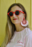Handmade Beaded Pink and Red Fringe Medallion Earrings