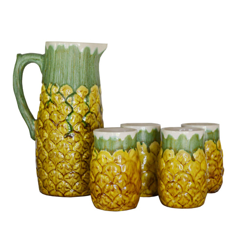 Vintage Stoneware Pineapple Pitcher and Cup Set