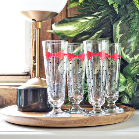 Bow and polka dot glassware