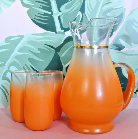 Orange Blendo pitcher and glass set