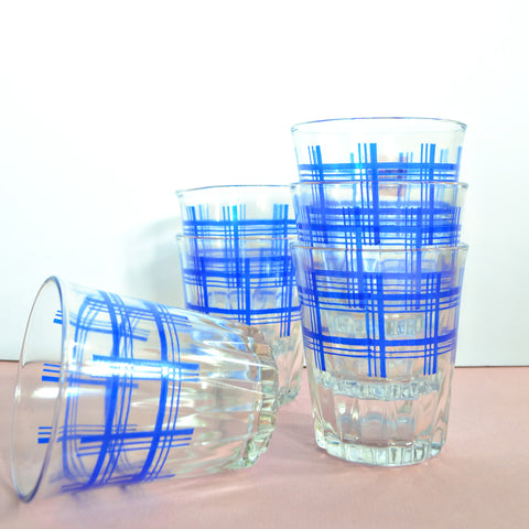Blue plaid juice glasses