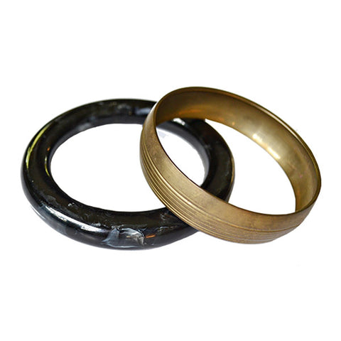 *Vintage* Black Marbled Acrylic Bangle and Brass Striped Bangle
