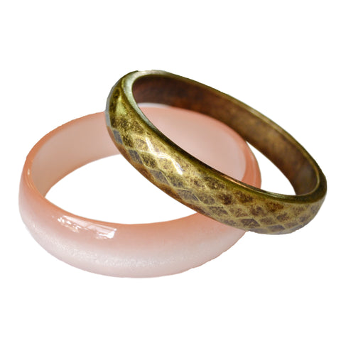 *Vintage* Pink Acrylic Bangle and Brass Bangle