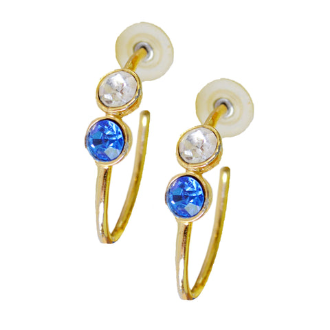 *Vintage* Gold Oval Hoop Earrings with Blue and White Stones