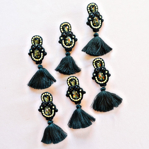 Handmade black tassel earrings