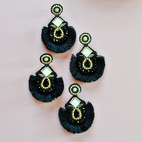 Black sparkly fringe earrings