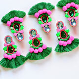 Handmade pink and green fringe and pom earrings
