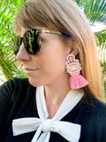 Handmade pink tassel earrings