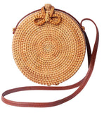 Round Wicker Purse with Bow