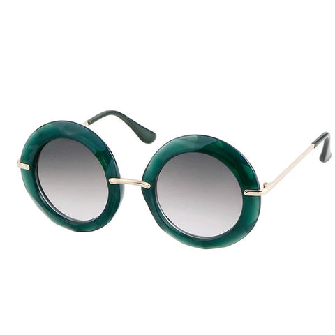 Green and Gold Faceted Retro Round Sunglasses