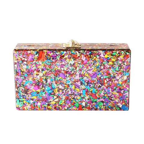 Acrylic Confetti Clutch with Strap