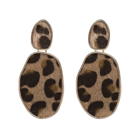 Faux Leopard Oval Drop Earrings