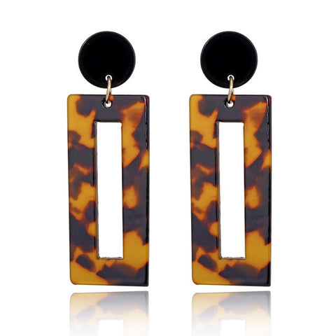 Tortoiseshell Rectangular Drop Earrings