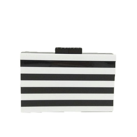Black and White Stripe Acrylic Clutch