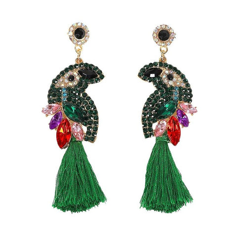 Green Parrot Earrings