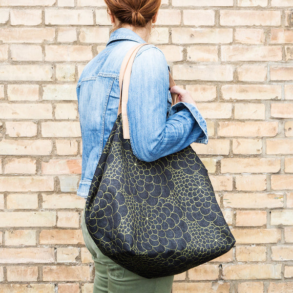 Tote Bag Big Mila black jeans/avocado