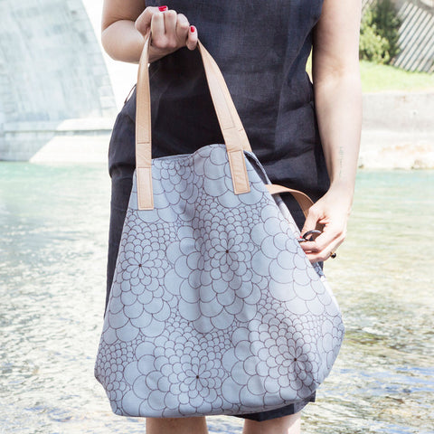 Tote Bag Big Mila light grey/dark brown
