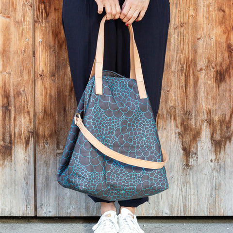 Tote Bag Big Mila dark grey/aquamarine