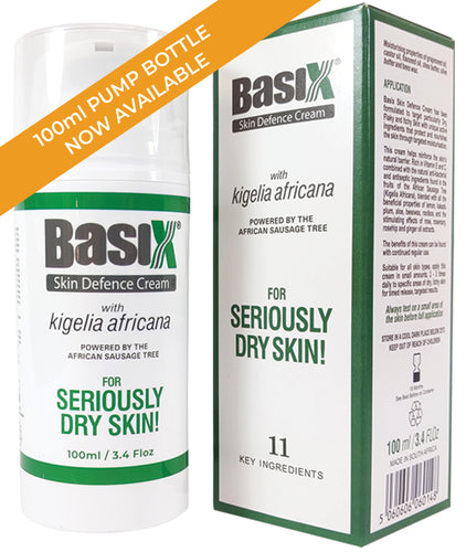 Basix Skin Defence Cream with Kigelia Africana - 100ml Pump Bottle - Psoriasis, Eczema & Dry Skin Conditions - 11 Natural Active Ingredients - Anti-Inflammatory, Anti-Viral, Anti-Itch and Natural Plant Sterols