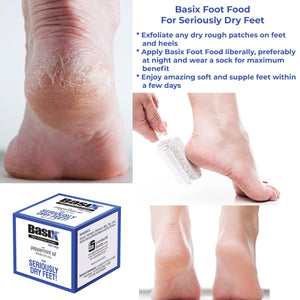 Basix Skin Defence FOOT FOOD - for Repairing Aching Dry Feet & Cracked Heels - with the invigorating effects of Peppermint Oil and 5% Urea