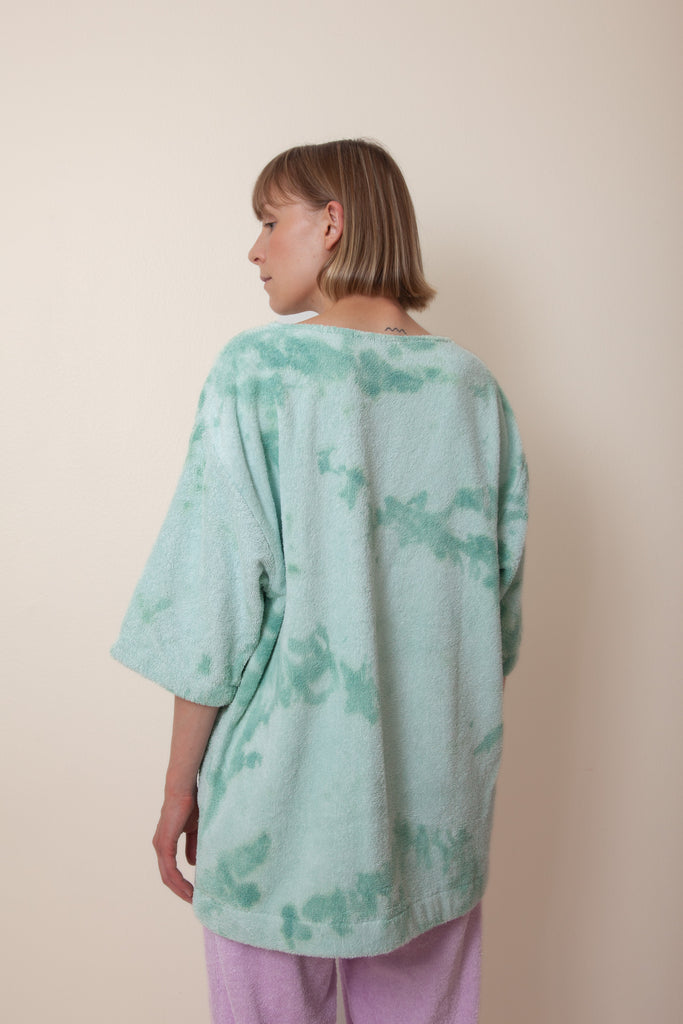 Hand Dyed Mint Unisex Tie Dye Terry Half Sleeve