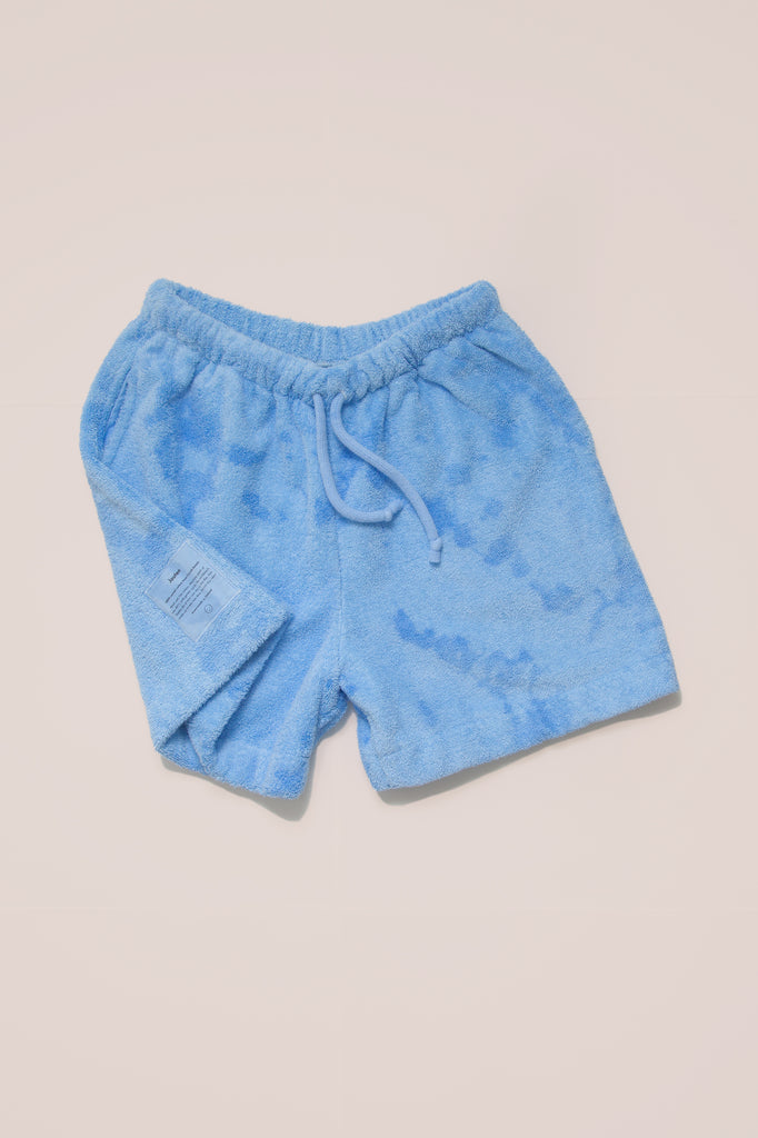 Cloudy Blue Tie Dye Unisex Terry Minishorts