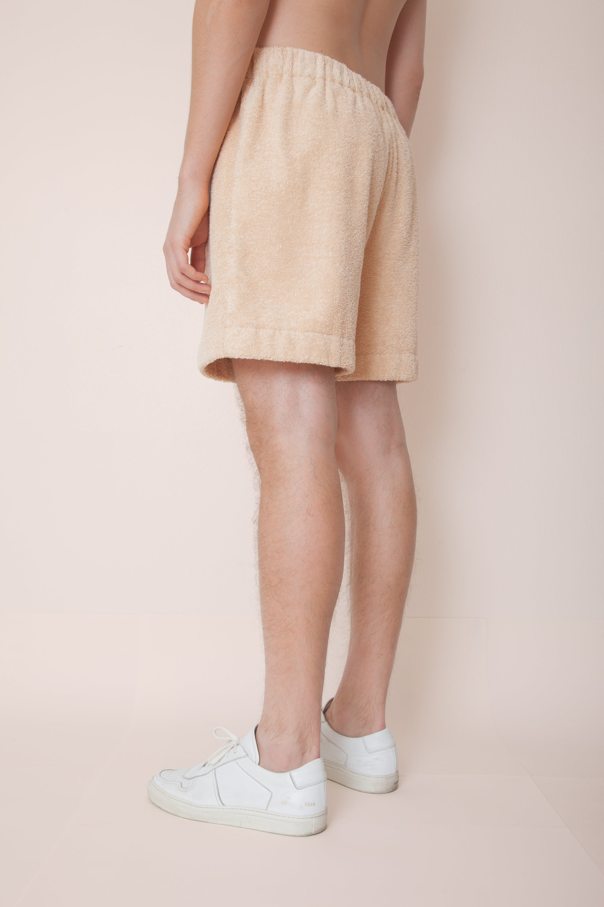 Unisex Terry Pocketless Minishorts in Fudge