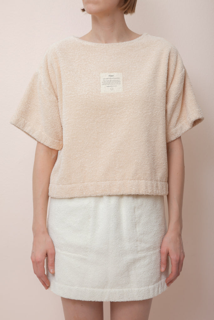 Unisex Terry Crop Shirt in Sand
