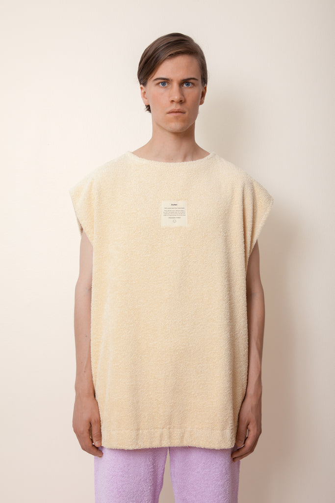Unisex Sleeveless Terry Shirt in Sand