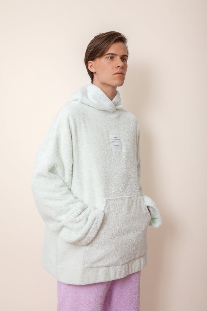 Unisex Oversized Terry Hoodie in Ice Mint