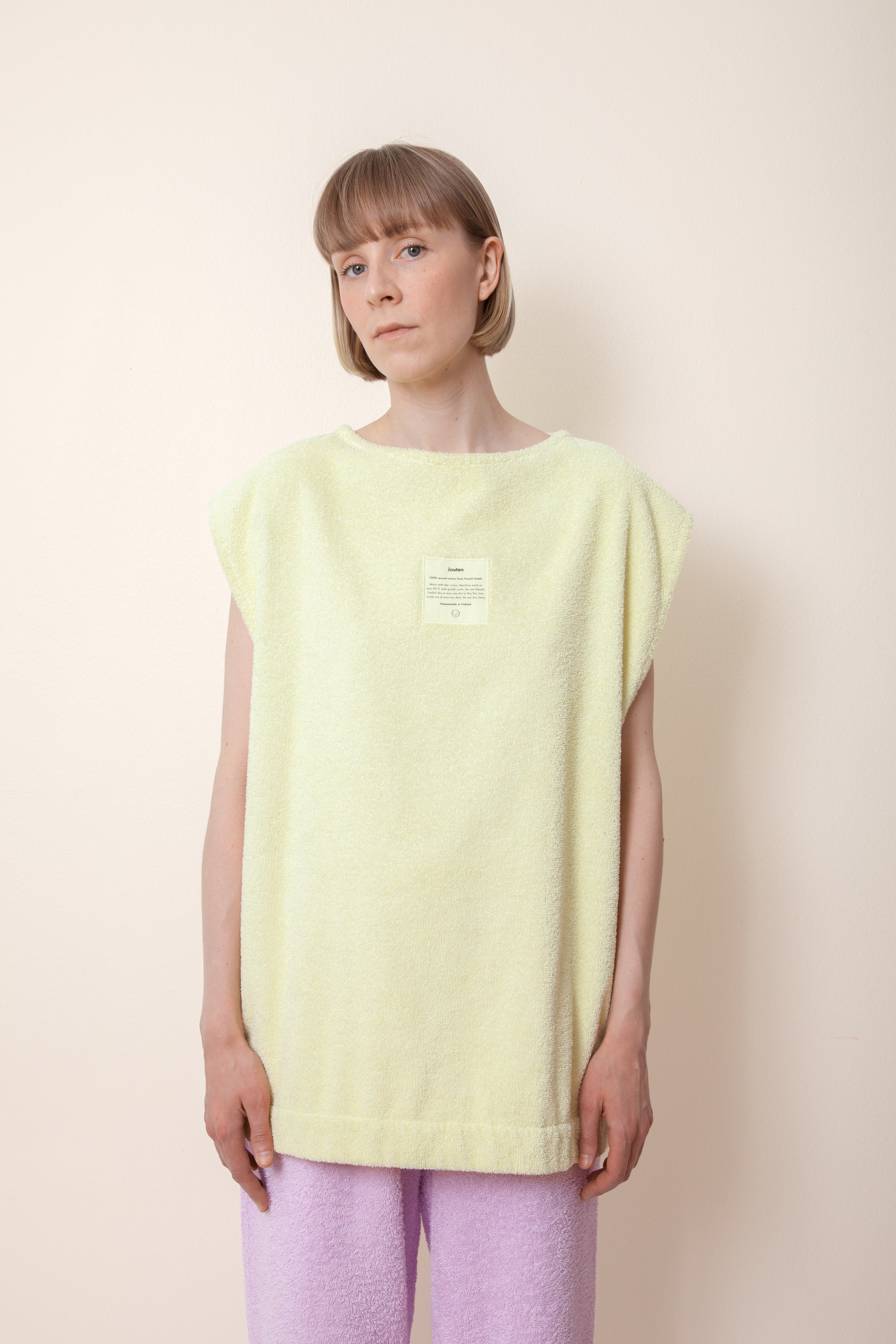 Unisex Sleeveless Terry Shirt in Lemon