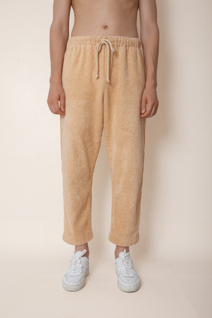 Unisex Cropped Terry Pants in Coffee