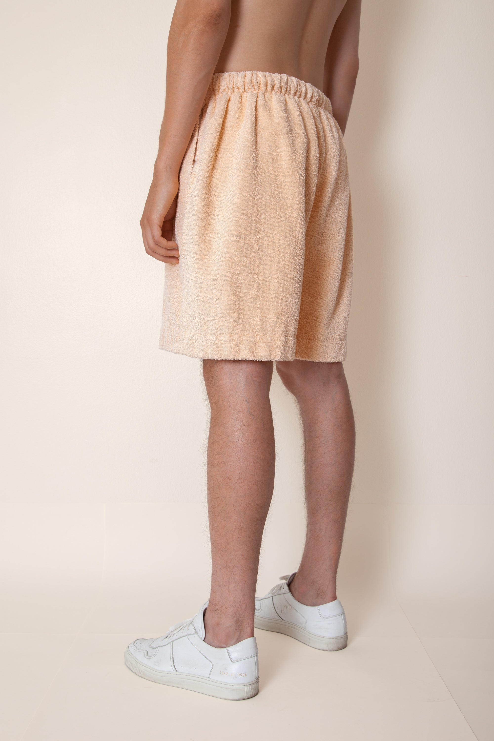 Unisex Terry Basketball Shorts in Peach