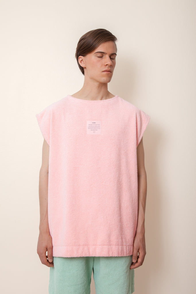 Unisex Sleeveless Terry Shirt in Flamingo