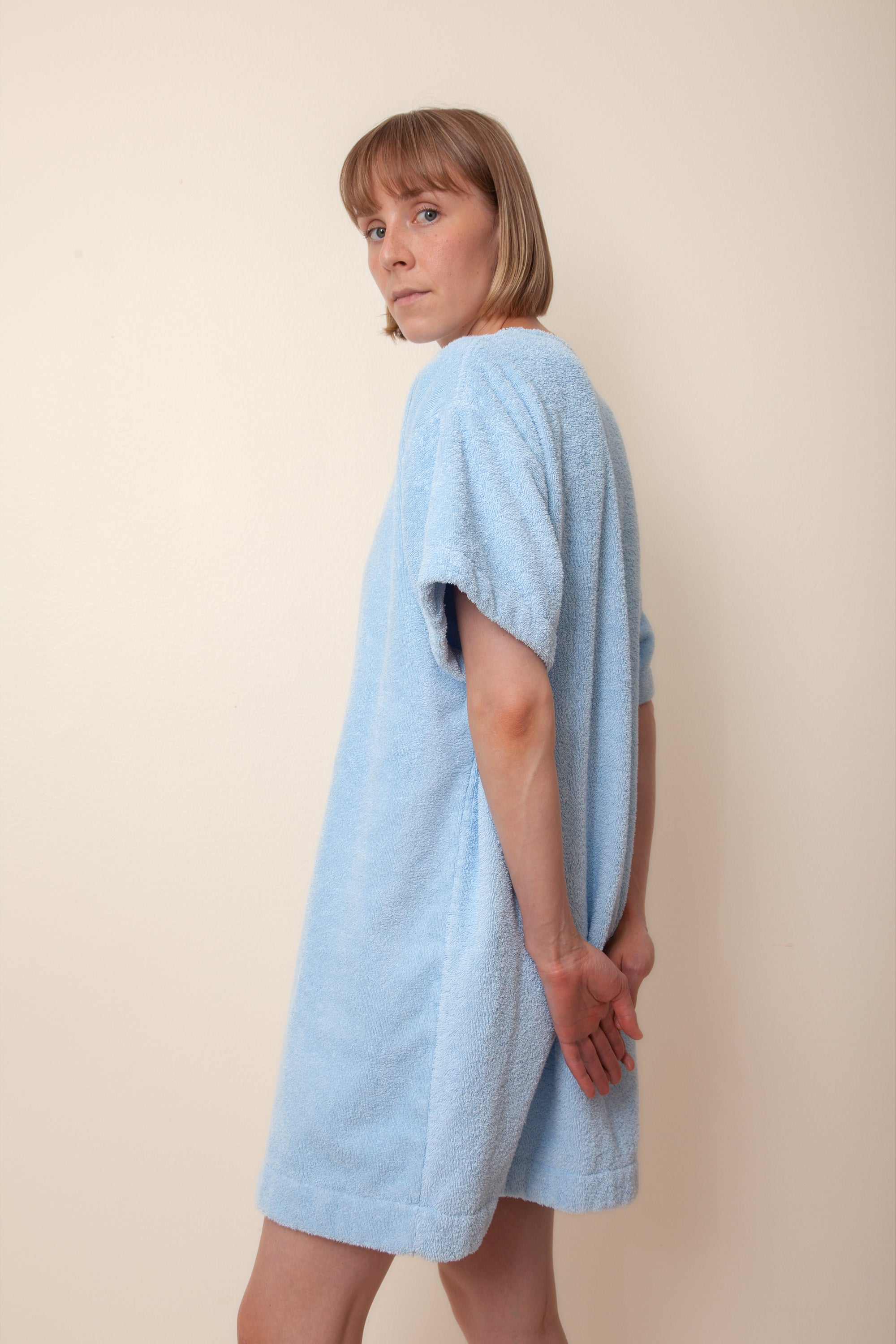 Unisex Overlong Terry Shirt in Cloudy Blue