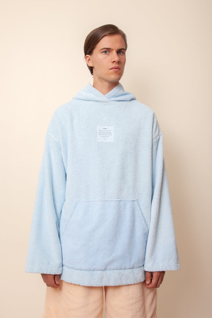 Unisex Regular Terry Hoodie in Cloudy Blue