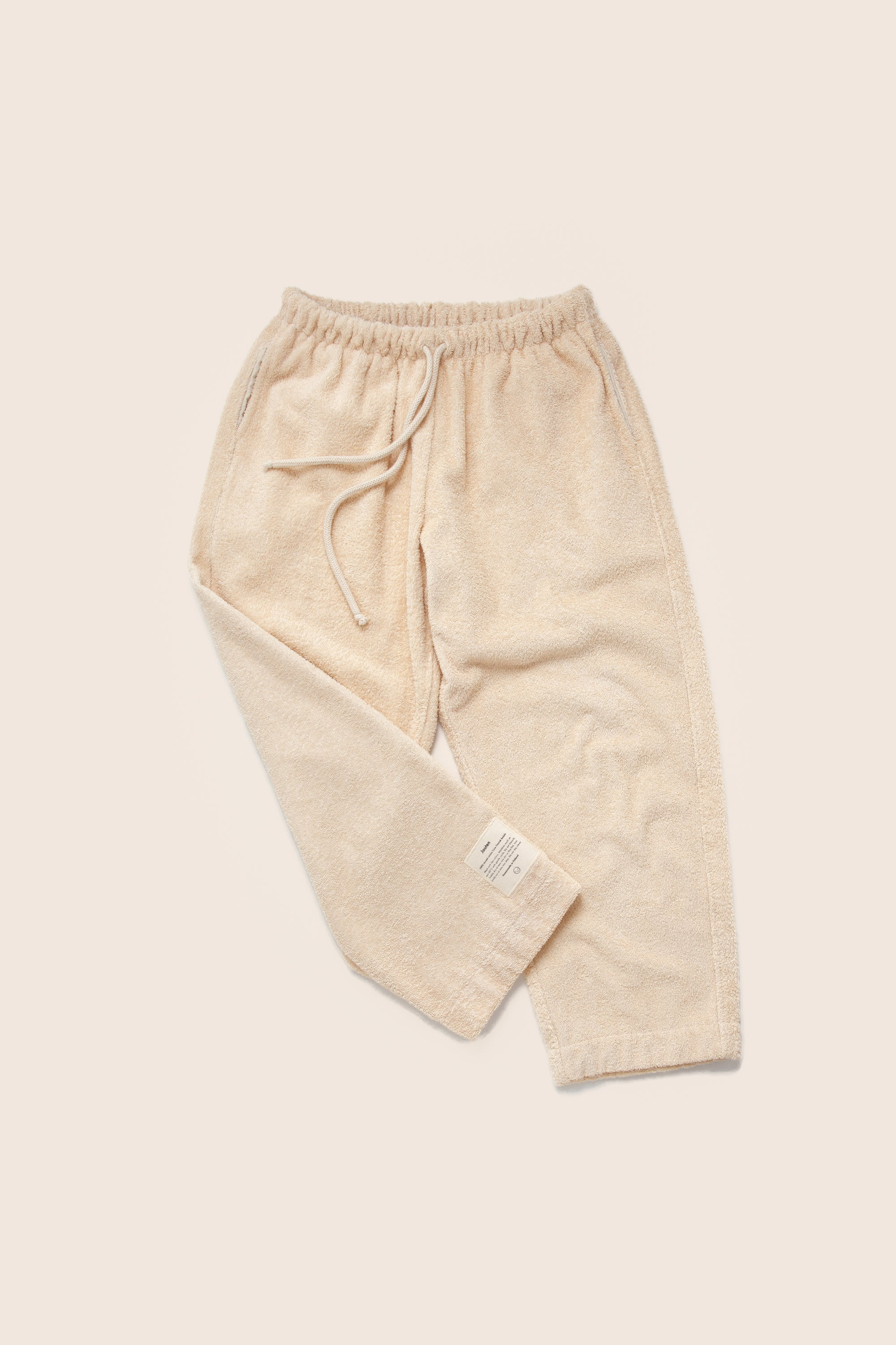Unisex Cropped Terry Pants in Sand
