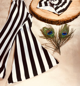 ABBEY BLACK+WHITE WIDE STRIPES FLARE PANTS+HEADWRAP SET