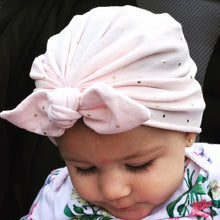 Load image into Gallery viewer, Bunny Ears Headwrap Soft Pink Gold Polka Dots|Baby Headwrap|Newborn Turban|Adult Turban|Top Knot Turban|Top Knot Baby Hat|Toddle Turban|Baby