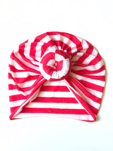 Stripes Baby Turban Red+White Lightweight Soft|Baby Headwrap|Adult Turban|Top Knot Turban|Top Knot Baby Hat|Kids Turbans