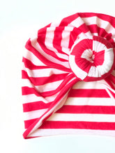 Load image into Gallery viewer, Stripes Baby Turban Red+White Lightweight Soft|Baby Headwrap|Adult Turban|Top Knot Turban|Top Knot Baby Hat|Kids Turbans