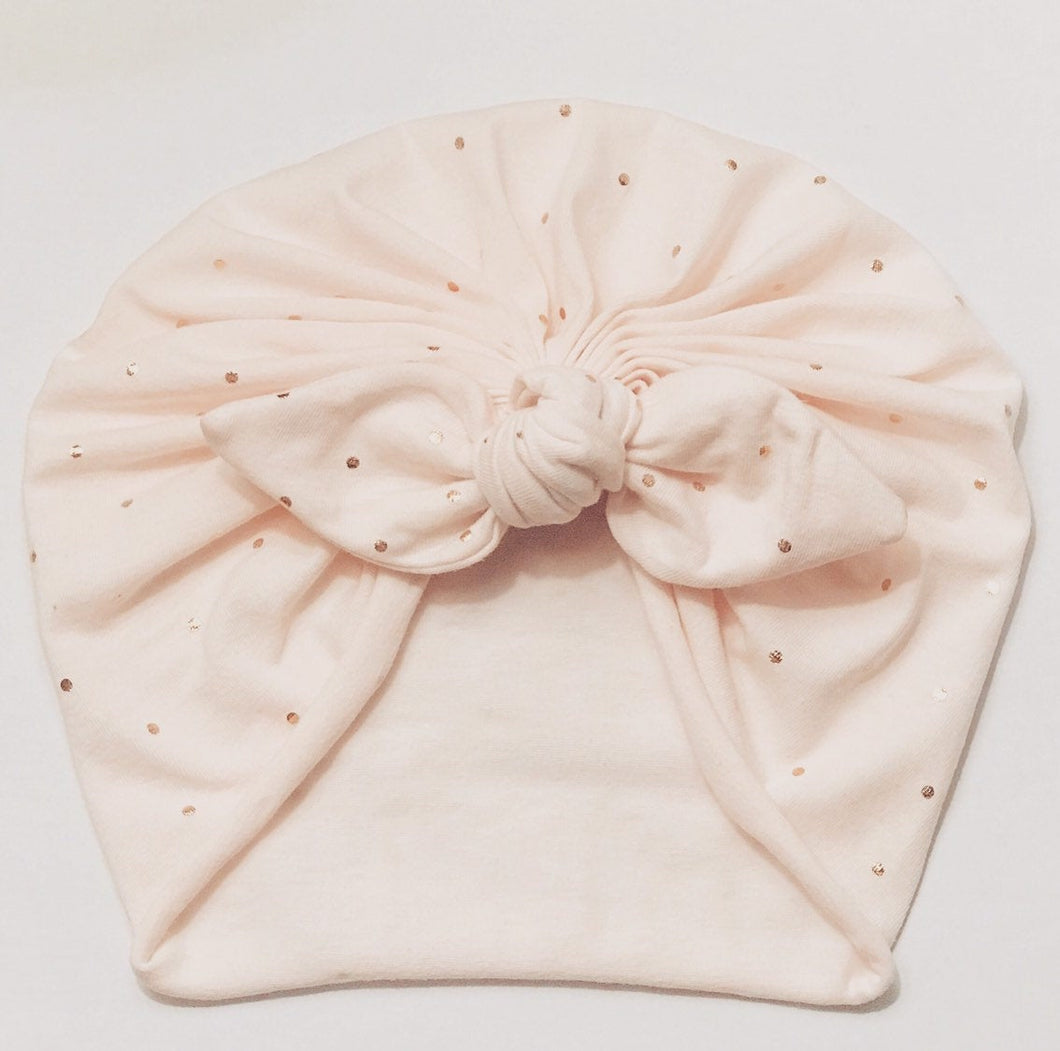 Bunny Ears Headwrap Soft Pink Gold Polka Dots|Baby Headwrap|Newborn Turban|Adult Turban|Top Knot Turban|Top Knot Baby Hat|Toddle Turban|Baby