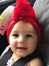 Load image into Gallery viewer, Headwrap Ruffles+Knots Scarlet Red|Baby Turban|Adult Turban|Top Knot Turban| Baby Hat|Kids Turbans|Toddler Turban|Bun Turban|Newborn Turban