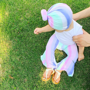 Dazed Bell Bottoms+Headwrap Set|Baby Bell Bottom Pants-Boho Baby Pants-Retro Pants-Turban Top Knot-Newborn Turban-Kids Turbans-Toddler