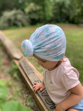 Load image into Gallery viewer, Aqua Blue Baby Turban|Adult Turban|Top Knot Turban|Top Knot Baby Hat|Kids Turbans|Toddler Turban|Bun Turban|Newborn Hat|Chemo Hat