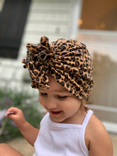 Load image into Gallery viewer, Black Ruffle Headwrap|Baby Turban|Adult Turban|Top Knot Turban|Top Knot Baby Hat|Kids Turbans|Toddler Turban|NewbornTurban|Chemo Hat