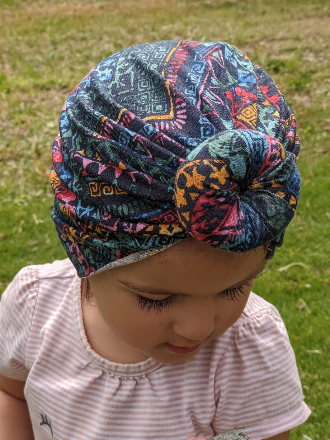 Rainbow Tribal Doughnut Turban Headwrap|Baby Turban|Adult Turban|Chemo Headwrap|Top Knot Baby Hat|Kids Turbans|Toddler Turban|Bun Turban